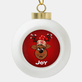 Customized Santa's Reindeer Cartoon Ceramic Ball Decoration