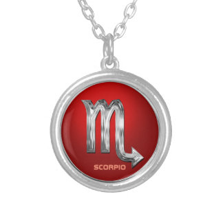 Customized Scorpio Astrological Glyph Silver Plated Necklace