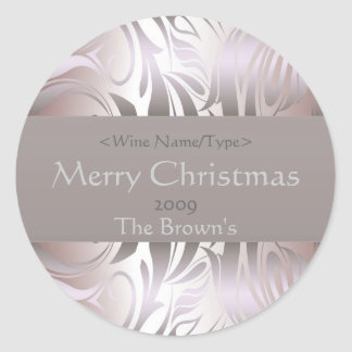 Customized Silver Wine Label for Christmas Round Sticker