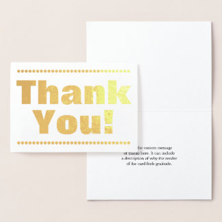 "Customized Simple Gold Foil ""Thank You!"" Card"