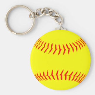 Customized Softball Basic Round Button Key Ring