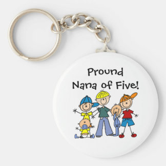 Customized Stick Figure Family Five Boys  Keychain