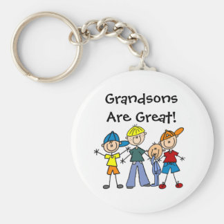 Customized Stick Figure Family Four Boys Keychain