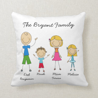 Customized Stick Figure Family MOJO Pillow
