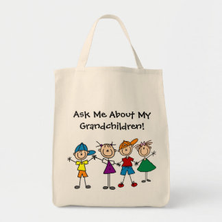 Customized Stick Figure Kids Family Tote Bags