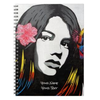 Customized Street Art Graffiti Girl with Birds Notebooks