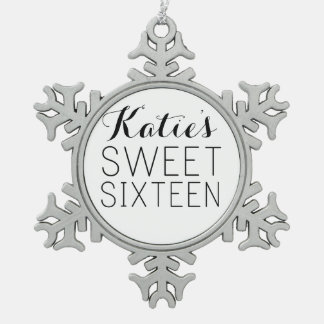 Customized Sweet 16 Favor Snowflake Pewter Christmas Ornament