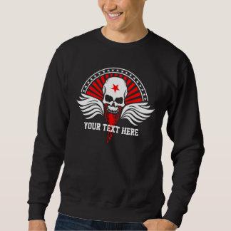 Customized Text Biker Skull & Wings Sweatshirt