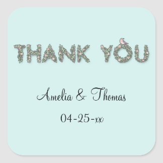 Customized Thank You Floral Square Sticker