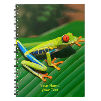 Customized Tropical rainforest green red-eyed Frog Spiral Notebook
