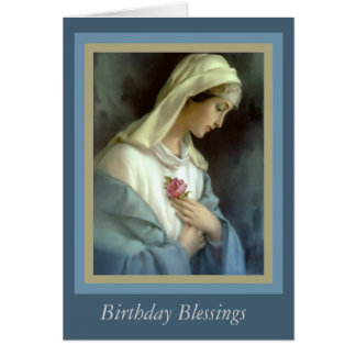 Customized Virgin Madonna Mary with rose Card