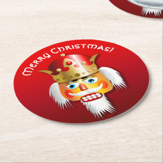 Customized Xmas Nutcracker King Cartoon Round Paper Coaster