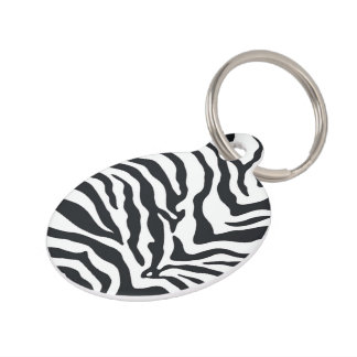 Customized Zebra Animal Print Pattern Pet Tag