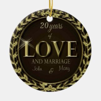 CustomizeYears of Love Brown Christmas Ornament