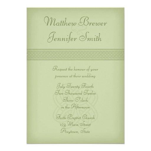 Custon Green Irish Celtic Knot Wedding Invitation Personalized Invite