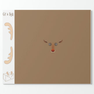 Cut and paste SMALL reindeer Wrapping Paper