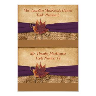Cut Apart FAUX Burlap, Leaves Place Cards - Purple 9 Cm X 13 Cm Invitation Card