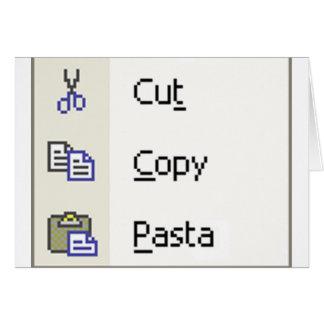 Cut Copy Pasta Greeting Card