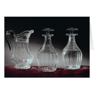 Cut glass decanters and jug, c.1840 card