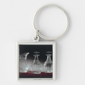 Cut glass decanters and jug, c.1840 Silver-Colored square key ring