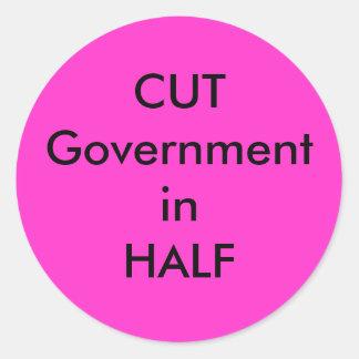 CUT Government in HALF Round Sticker