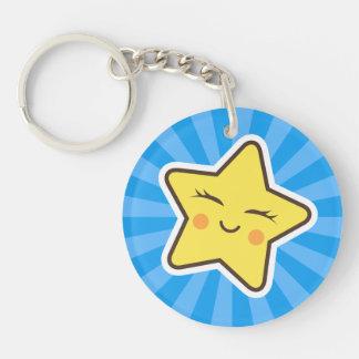 Cut kawaii cartoon star, blue sunburst background Double-Sided round acrylic key ring