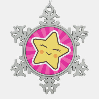 Cut kawaii cartoon star on hot pink sunburst pewter snowflake decoration