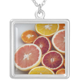 Cut Oranges on table Silver Plated Necklace