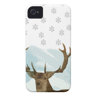 Cut Out Art Deco Deer with Snowflakes Christmas Case-Mate iPhone 4 Cases