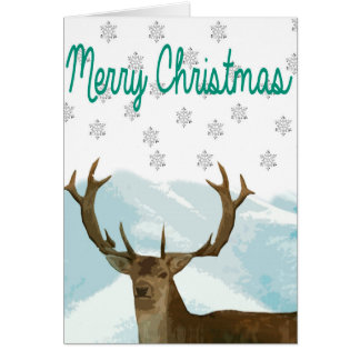 Cut Out Art Deco Deer with Snowflakes Christmas Greeting Card