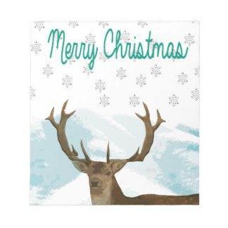 Cut Out Art Deco Deer with Snowflakes Christmas Notepad