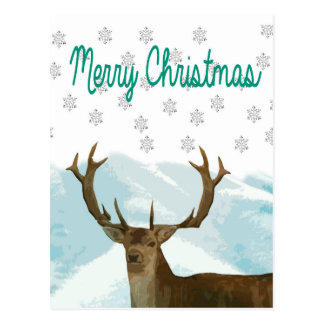 Cut Out Art Deco Deer with Snowflakes Christmas Postcard