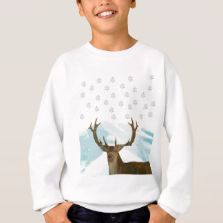 Cut Out Art Deco Deer with Snowflakes Christmas Sweatshirt