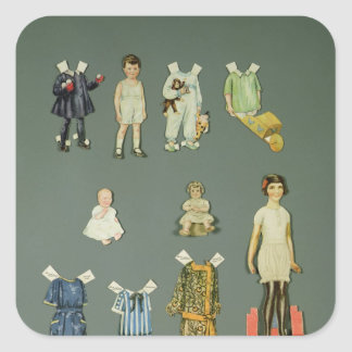 Cut out doll and clothes, late 1920s-early 1930s square sticker