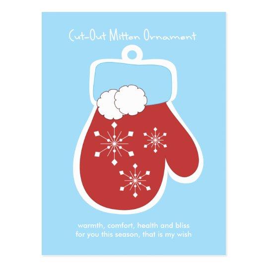 Cut-Out Mitten Ornament Postcard