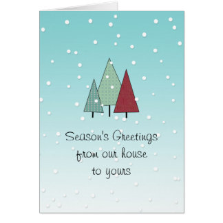 Cut-out Pine Trees Custom Holiday Card