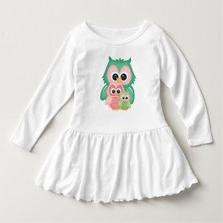 Cut Owls Branch Pink Mint Green Birds Dress