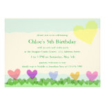 Cut Paper Hearts Sun and Flowers Birthday Party Personalized Invitations