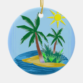 Cut Paper Island, Palms and Sun Christmas Ornament