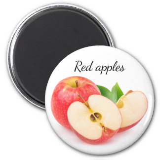 Cut red apples 6 cm round magnet