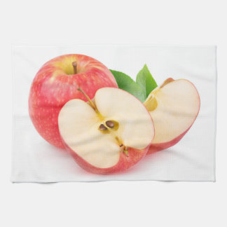 Cut red apples tea towel