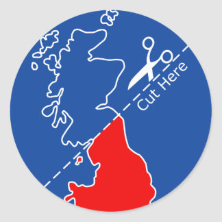 Cut Scotland from Britain Round Sticker