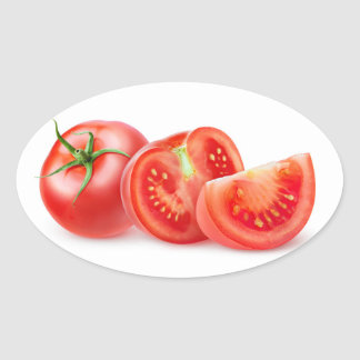 Cut tomato oval sticker