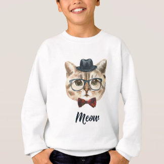 Cut Vintage Hipster Cat Kitten Saying Meow Sweatshirt