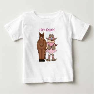 Cute 100% Cowgirl and Horse Baby T-Shirt
