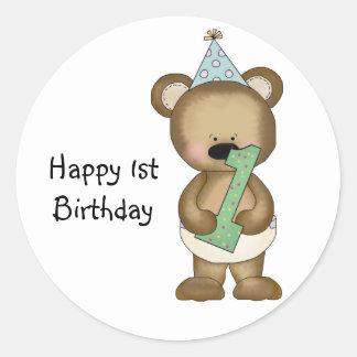 Cute 1st Birthday Bear - Boy Round Sticker
