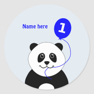 Cute 1st birthday panda add name blue classic round sticker