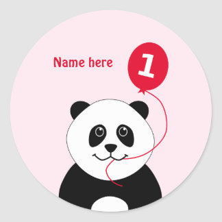 Cute 1st birthday panda add name pink classic round sticker