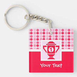 Cute 1st Place Trophy Square Acrylic Key Chain