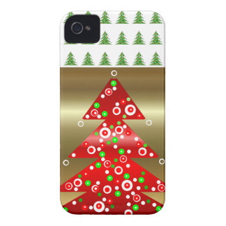 Cute 2013 Red & Gold Christmas Tree iPhone 4 Case